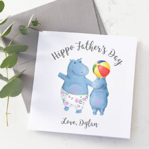 Personalised Hippo Father's Day Card